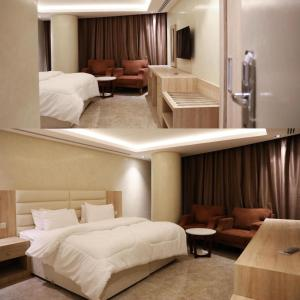 A bed or beds in a room at فندق المكان 113