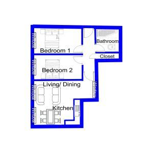 The floor plan of Apartment 7 Burnett Court 2 Bed