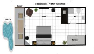 The floor plan of Marina Hotspot - Pool View Balcony - Fast WIFI - Washing Machine - Kitchenette - Sheraton Plaza 414