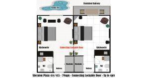 The floor plan of Marina Hotspot - Pool View Balcony - Fast WIFI - Kitchenettes - Washing Machines - Sheraton Plaza 414-415