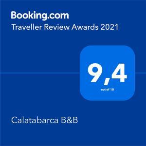 Certificado, premio, señal o documento que está expuesto en Calatabarca B&B