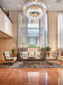 The lobby or reception area at The Donatello Hotel