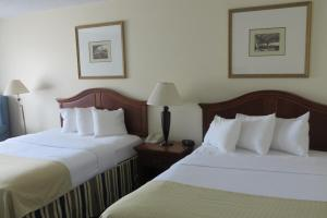 A bed or beds in a room at Days Inn & Suites by Wyndham Omaha NE