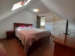 Un pat sau paturi într-o cameră la Casa Olguta