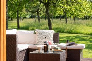 A restaurant or other place to eat at Orchard Farm Luxury Glamping