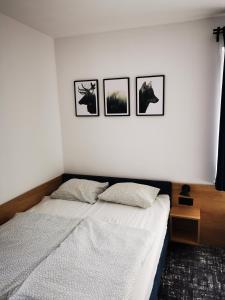 Łóżko lub łóżka w pokoju w obiekcie 4 Pory Roku Apartamenty Domki Pokoje