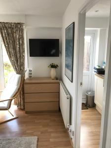 A television and/or entertainment center at Garden Studio