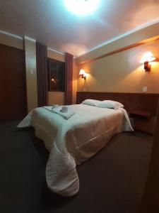 A bed or beds in a room at Hotel mirador alpamayo