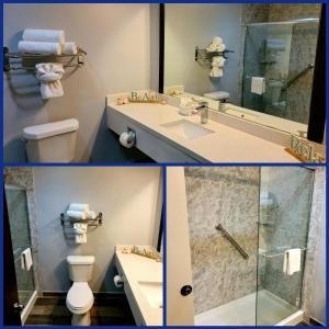 A bathroom at Blue Bay Inn and Suites