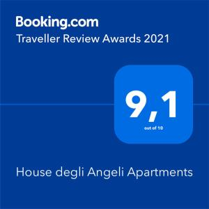 Certificato, attestato, insegna o altro documento esposto da House degli Angeli Apartments