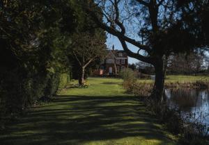 A garden outside Healing Manor Hotel