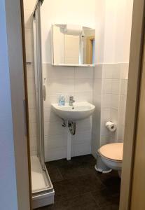 Ein Badezimmer in der Unterkunft Ferienwohnung am Malerweg