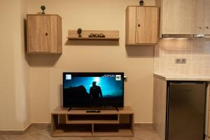 A television and/or entertainment center at Comfortable apartment near Athens Airport!!
