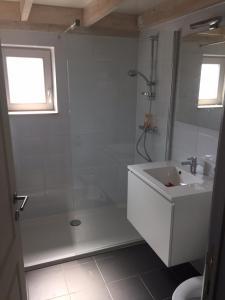 A bathroom at Vissershuisjes Wenduine