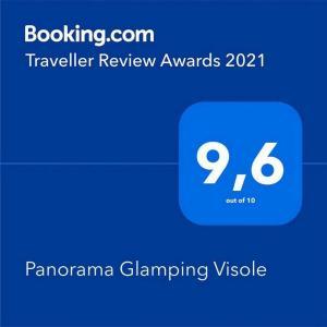 Een certificaat, prijs of ander document dat getoond wordt bij Panorama Glamping Visole