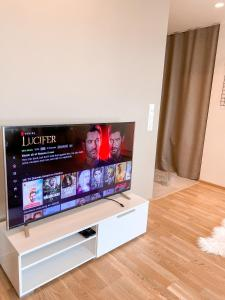 A television and/or entertainment center at Cozy modern 2BR apartment near city centre with balcony
