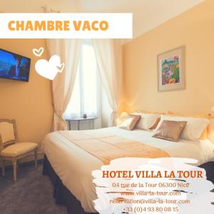 A bed or beds in a room at Hotel Villa La Tour