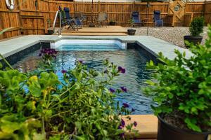The swimming pool at or near Auberge motel drakkar