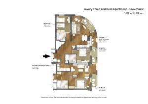 The floor plan of Cheval Three Quays at The Tower of London