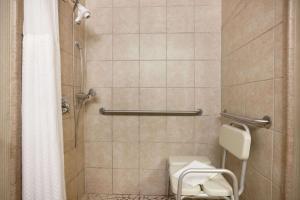 A bathroom at Ramada by Wyndham Newark/Wilmington