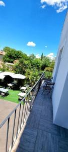 A balcony or terrace at Hôtel restaurant et pension soirée étape Bel Air