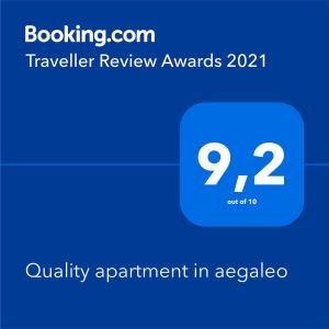 A certificate, award, sign or other document on display at Quality apartment in aegaleo