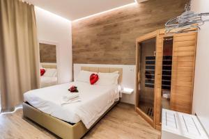 Letto o letti in una camera di Hotel Gran Sasso & SPA