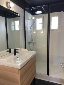 A bathroom at Jolie Villa avec Jardin Proche Plage