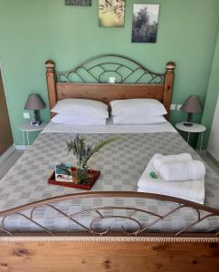 A bed or beds in a room at Anastasios Olive Garden Apartments