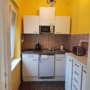 A kitchen or kitchenette at Horst Apartmanok