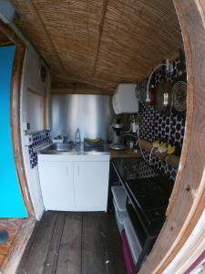 Cuisine ou kitchenette dans l'établissement Cabane dans un pommier
