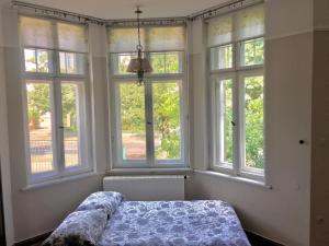 Łóżko lub łóżka w pokoju w obiekcie Villa Otium z prywatnym ogrodem