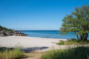 En strand i nærheden af hotellet