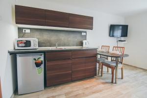 Kuchyň nebo kuchyňský kout v ubytování Vila Šumná