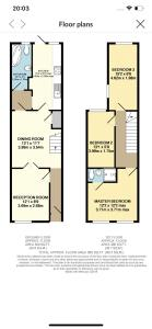 The floor plan of 35 mins to central London. 3 bedrooms. 2 bathrooms with garden
