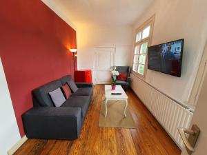 A seating area at Haus Stehlings