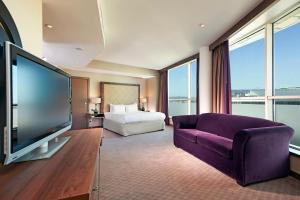 A seating area at Hilton Cardiff