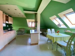 Kuchyňa alebo kuchynka v ubytovaní Apartmán podkrovie Nedožery Brezany