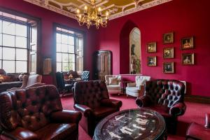 A seating area at Dalhousie Castle Hotel