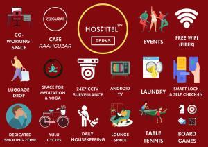 The floor plan of HOSHTEL99 - STAY, COWORK & CAFE - A Backpacker Hostel