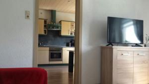 """A television and/or entertainment center at Ferienwohnung """"Am Vaterlandsgrubenweg"""""""