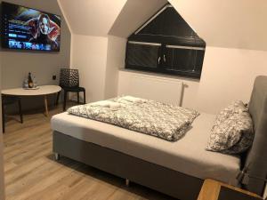Postel nebo postele na pokoji v ubytování GRAND HARRACHOV PENSION v centru