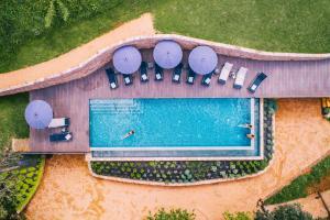 Vue sur la piscine de l'établissement Hotel Mas la Ferreria ou sur une piscine à proximité