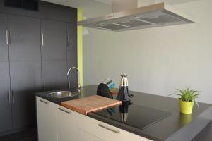 Cuisine ou kitchenette dans l'établissement Studio 24 Oostende