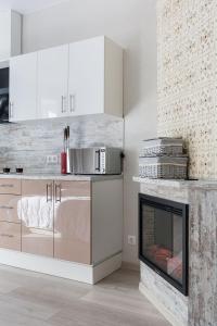 Кухня или мини-кухня в Апартаменты с камином