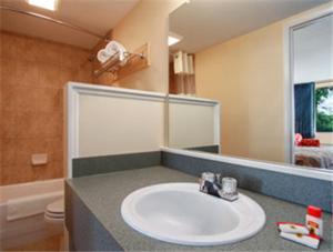 A bathroom at Super 8 by Wyndham Dover