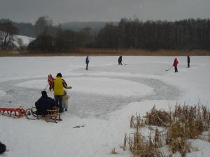 Катание на лыжах на территории дома для отпуска или поблизости