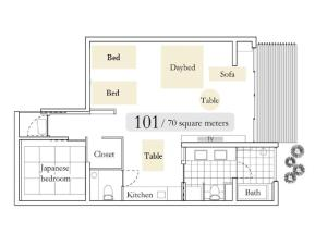 The floor plan of Aoi Hotel Kyoto