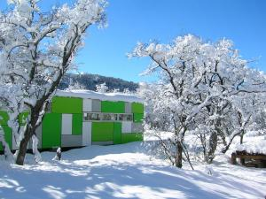 Cabañas Ecobox Andino en invierno