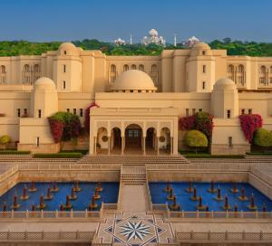 A view of the pool at The Oberoi Amarvilas Agra or nearby